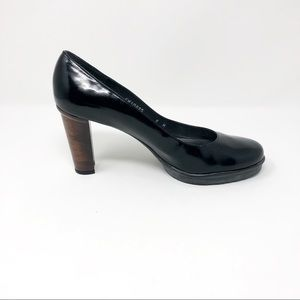 Stuart Weitzman black patent leather pumps